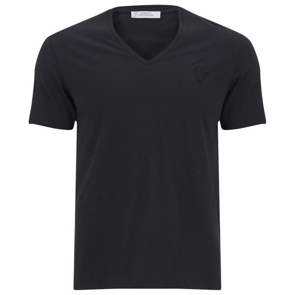Versace Collection Men's V-Neck T-Shirt - Black (300 SAR) ❤ liked on Polyvore featuring men's fashion, men's clothing, men's shirts, men's t-shirts, men and black