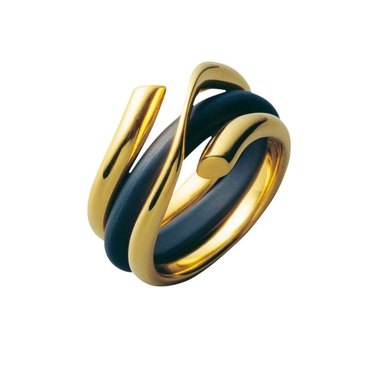"""Georg Jensen """"Magic"""" Ring designed by Regitze Overgaard. 750 yellow gold and rubber."""