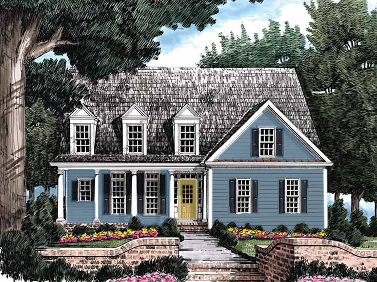 Gray blue siding with black accents and yellow door