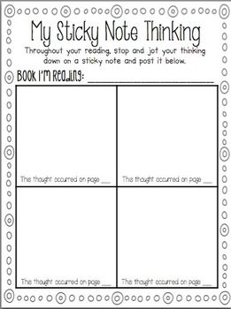 "Getting students to think about their thinking is hard! I created this simple sheet to use with sticky notes. It would be a great addition to an interactive notebook or to just keep in the classroom and allow students to use when they need ""extra help"" thinking!"