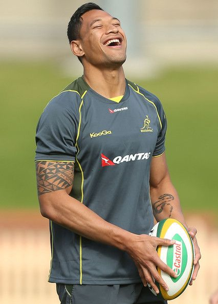 Israel Folau smiles during an Australian Wallabies training session at North Sydney Oval on August 7, 2013 in Sydney, Australia.