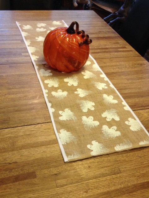 "48""-72"" Halloween Ghost Printed Burlap Table Runner, Burlap, Halloween Table decor, Placemats on Etsy, $16.00"