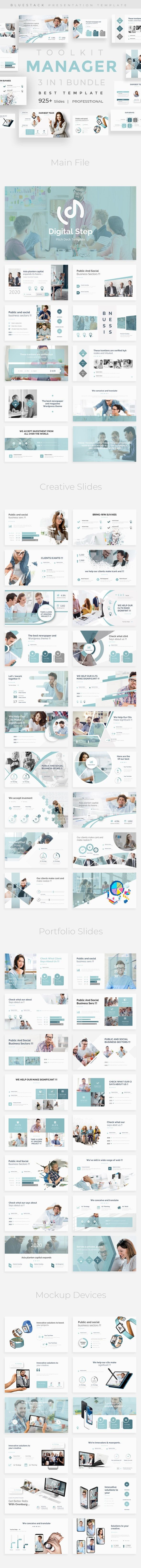 Manager Toolkit 3 in 1 Pitch Deck Bundle PowerPoint Template