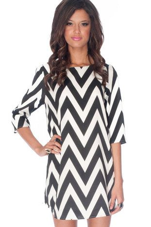 Black and white chevron shift dress
