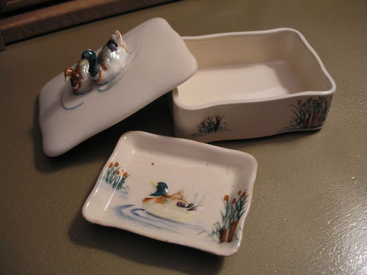 Duck 1940's Cigarette Box with Porcelain Ashtray, 2 pc set by MacKenziesCottage on Etsy