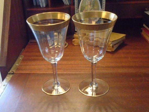 Tiffin 3 oz Crystal Optic Goblet Minton Gold Band Vintage
