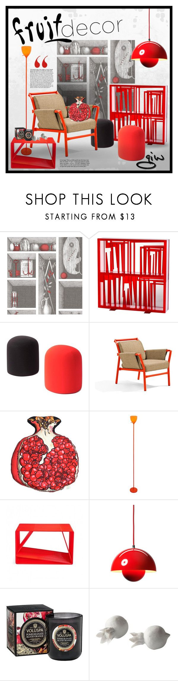 """red fruit punch..."" by ian-giw ❤ liked on Polyvore featuring interior, interiors, interior design, home, home decor, interior decorating, Tourne, Fornasetti, Tisettanta and Silken Favours"