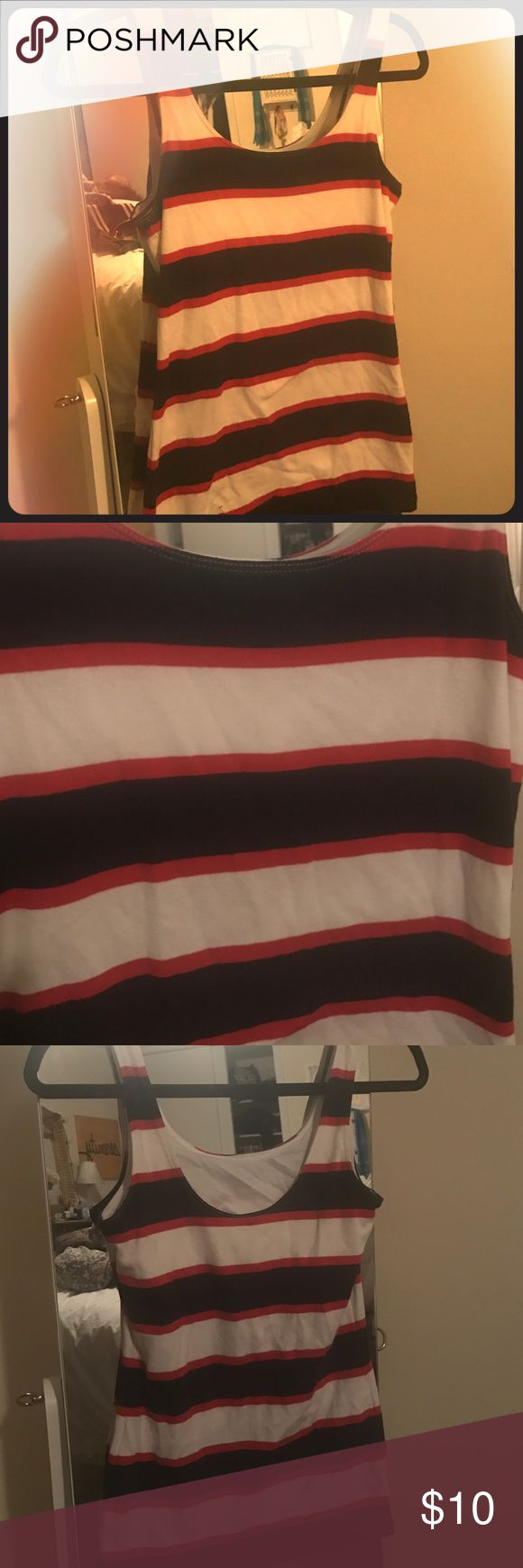 Banana Republic, XS, Nautical tank Banana Republic, XS, Nautical tank. Navy, white and red striped. Built in cami bra for support with low scoop back! Perfect condition! Banana Republic Tops Tank Tops