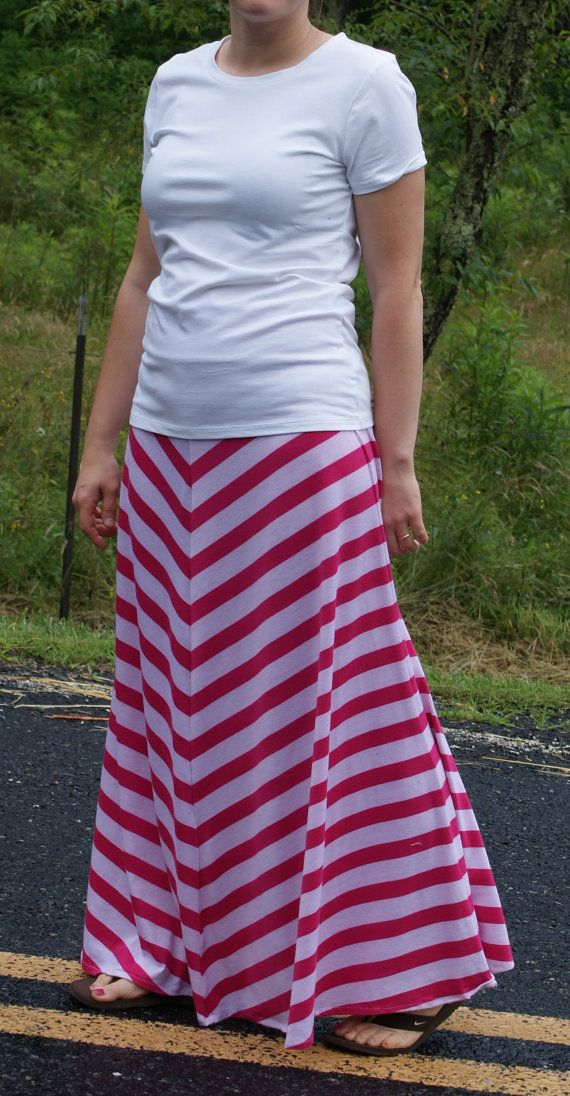 PLUS Woman Maxi Skirt Long Tall Modest Flowy Full Pink On Chevron Yoga Band Sizes Available By Sheri