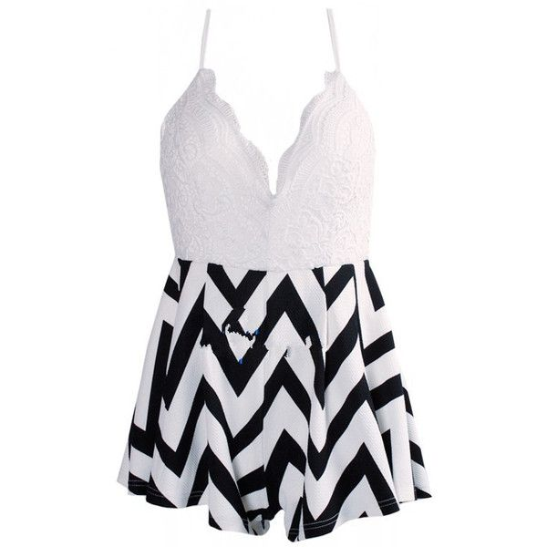 Spaghetti Strap Zigzag Print Lace Jumpsuit ($23) ❤ liked on Polyvore featuring jumpsuits, romper, dresses, one piece, black and white, playsuit romper, sleeveless jumpsuit, black and white romper, spaghetti strap jumpsuit and jumpsuits & rompers