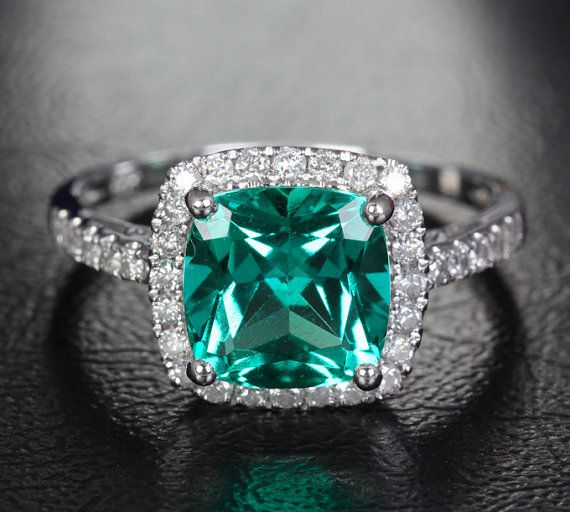 8mm Cushion Emerald 14k White Gold/Yellow Gold/Rose Gold .31ct Pave Diamonds Halo Wedding Ring Engagement Ring
