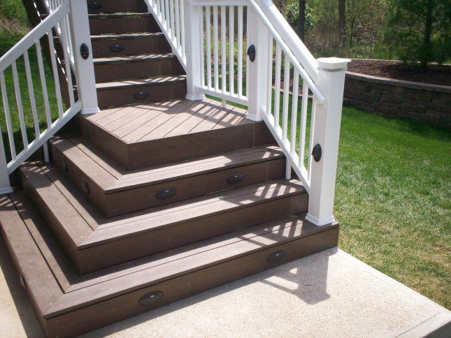 Exterior Porch Stair Design Square Steps Two Sided With Railing