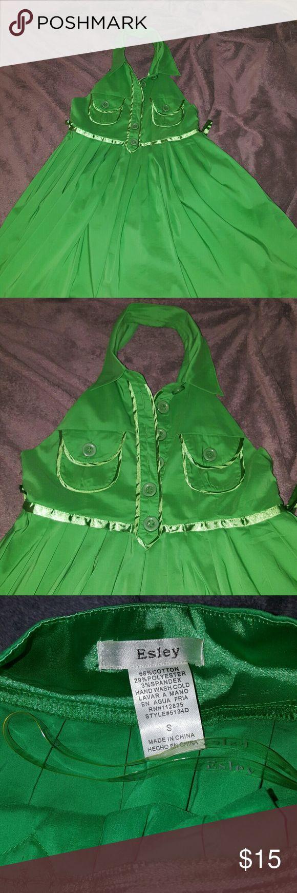 Women's halter dress KELLY GREEN halter tops dress Esley Dresses Mini