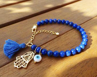 Oro azul de mal de ojo con cuentas pulsera con borlas por cocolocca