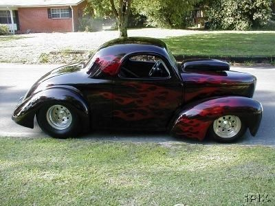 Turnkey 1941 Willys for Sale | 1941 Willys Coupe Steel Body purple w/flames