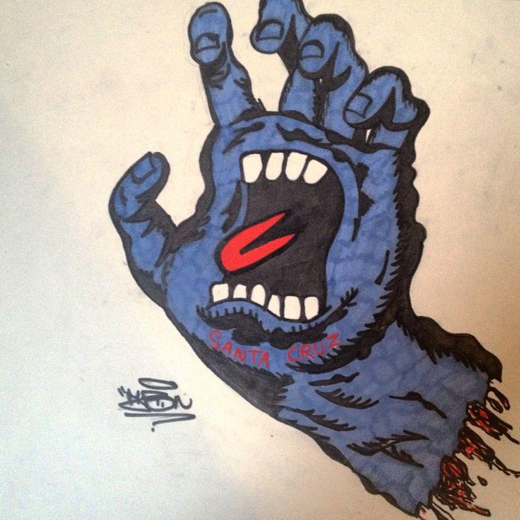 Là on est plus sur un dessin qu'un graff mais voila ! #SantaCruz #Main #blue #bleu #langue #Graff #Graffiti #Art #StreetArt #Tag #letters #papier #Likes #Amazing #Photographie #Draw #Support #Posca #Peint #Peinture