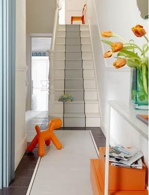 Painted grey staircase