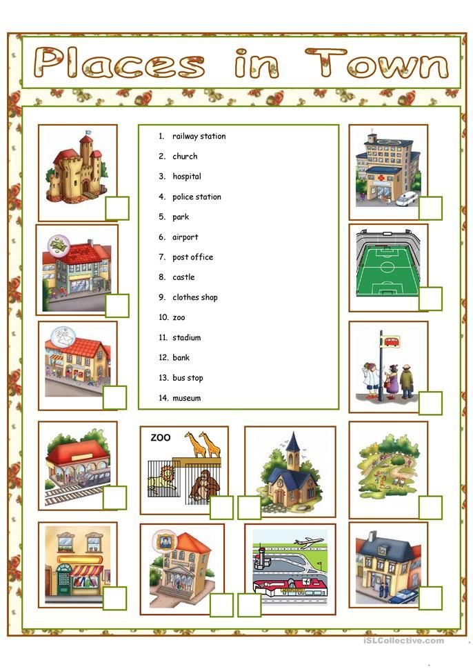 Places In Town Teaching English English Vocab English Lessons Places of city worksheet