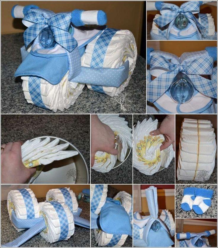 Un nuovo modo originale di preparare un regalo utile per la neomamma e il suo piccolo : il Triciclo con i pannolini. Idea utilissima e carinissima da regalare.