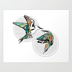 Art Deco Birds Giclée art print by Kerise Delcoure. This design is a modern depiction of two colourful Australian Rainbow Bee Eater birds, overlapping circular striped background graphics. Available at https://society6.com/kerisedelcoure and https://www.redbubble.com/people/kerisedelcoure.