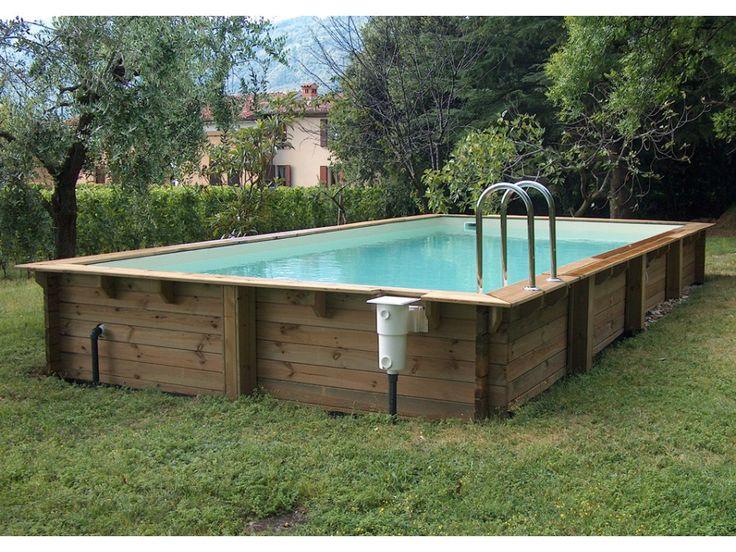 Piscina desmontable de madera rectangular 6x3m o 8x4 m WIKKA