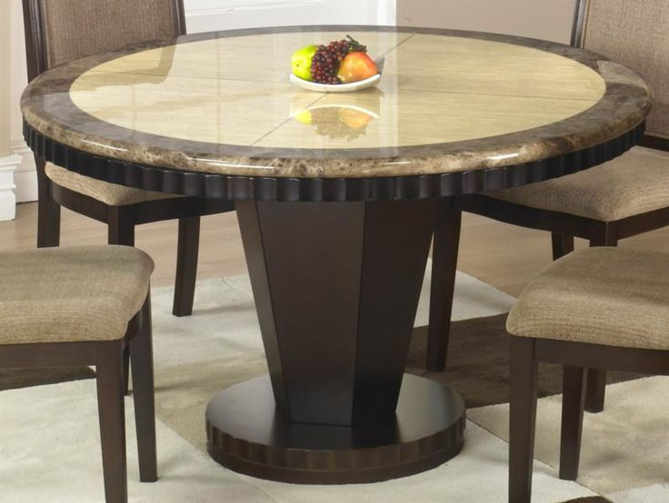 Perfect Perfect Dark Brown Polished Pedestal Round Dining Table With Marble Top And  4 Gray Velvet Non Arm Dining Chair In Modern Dining Room Furnishing Designs Amazing Design