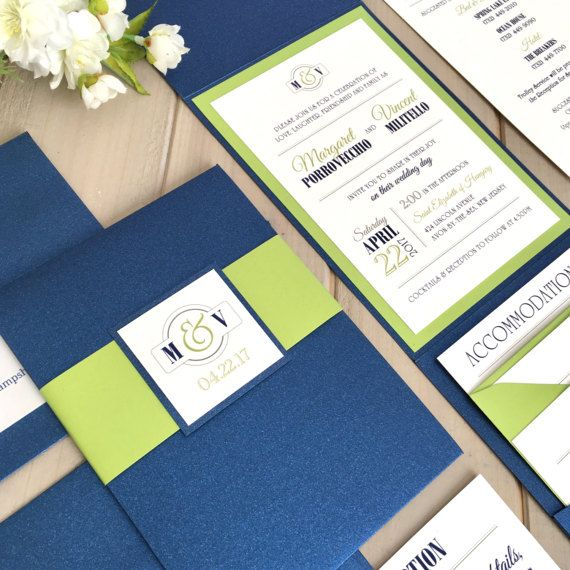 Navy and Lime Green Wedding Invitations by InspirationIDoDesign