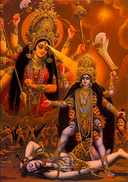Durga and her assistants, the Matrikas, wound the demon Raktabija, in an attempt to destroy him. They soon find that they have worsened the situation for with every drop of blood that is dripped from Raktabija he reproduces a clone of himself. The battlefield becomes increasingly filled with his duplicates. Durga, in need of help, summons Kāli to combat the demons. It is said, in some versions, that Goddess Durga actually assumes the form of Goddess Kāli at this time.