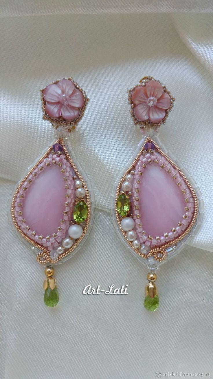 Купить Серёженьки  Весенние - розовый, Праздник, серьги с камнями, нарядные серьги, серьги с опалом