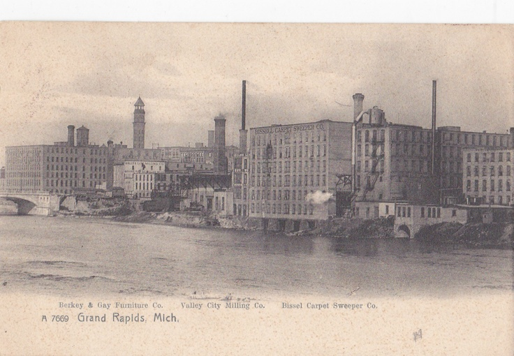 Postcard showing the Berkey & Gay Furniture Co., Valley City Milling and the Bissell Carpet Sweeper Co. buildings - 1909