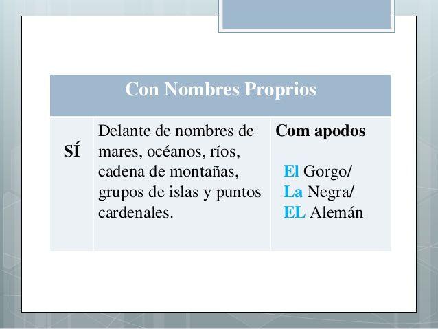 Con Nombres Proprios SÍ Delante de nombres de mares, océanos, ríos, cadena de montañas, grupos de islas y puntos cardenale...