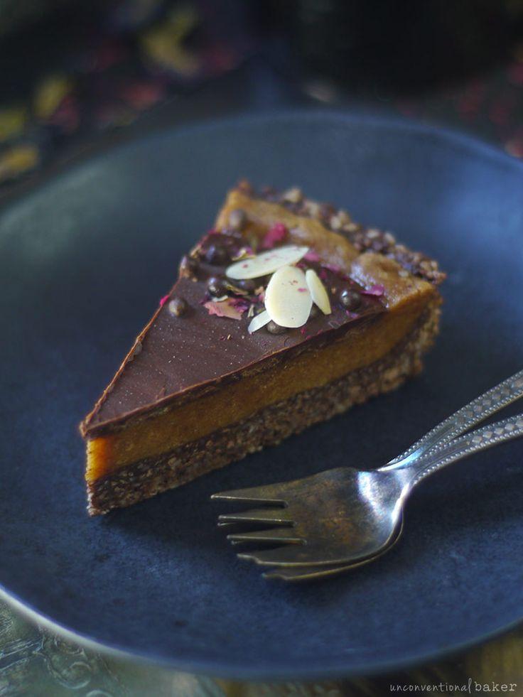 slice of almond apricot and chocolate pie (gluten-free vegan recipe)