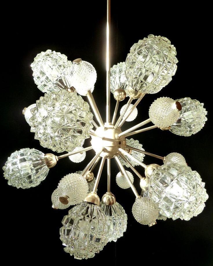 SPUTNIK ORBIT CHANDELIER MID CENTURY VITAGE SPACE AGE ICE GLASS LAMP    Sorry, This Item