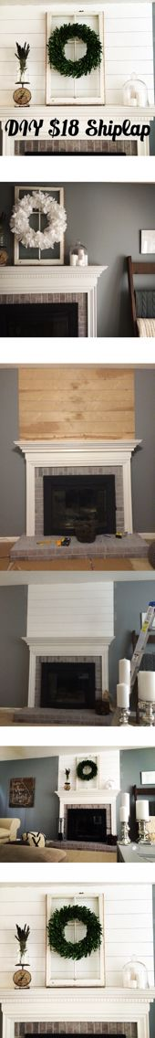 """$18 Shiplap Mantle: Quick, easy, & cheap! You'll need: 1 sheet of floor underlay (we got ours from Home Depot for $14) cut into 5.5"""" wide boards. A sample of bright white paint Finishing nails (ours were 4.5"""") A Hammer Nickels for board spacing Simply measure the length of the area you want to shiplap & cut boards to the length you need. *Make sure you sand! Line up the first board & nail it into the wall. Place 2nd board on top of the first & use nickels stuck between boards to space out…"""