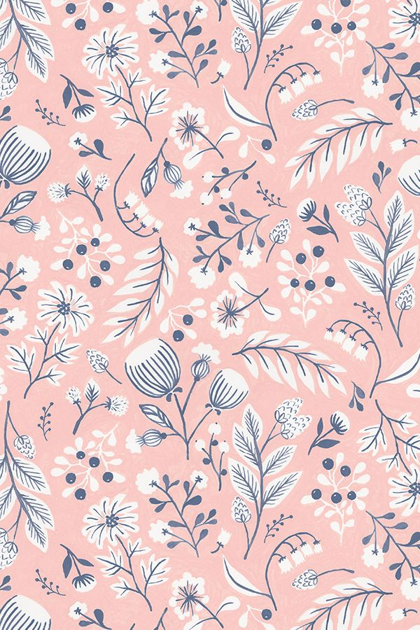 Pink Folk Floral by kirsten_sevig - Hand illustrated plant forms on fabric, wallpaper, and gift wrap. Whimsical plant forms in blue, pink, and white in a folk art style.