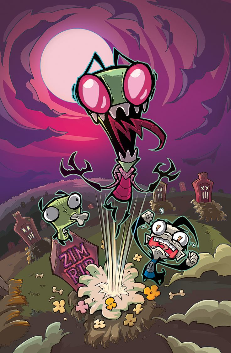 Awesome grave explosion image supplied by aaronalexovichand colored by rikkisimons. Neat, right?onipress:It's official: Oni Press is partnering with jhonenv and nickelodeon for an original Invader Zim comic, arriving this July!