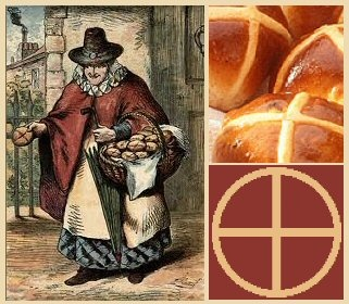 """The Sun Wheel, a symbol of perfect balance at the Equinox, is the inspiration for the traditional spring roll known as the Hot Cross Bun."""
