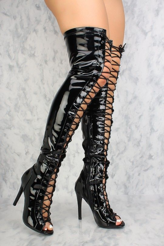 3a72518b6f Sexy Black Lace Up Open Toe Thigh High Boots Patent | what i would ...