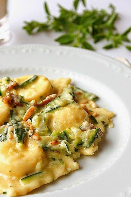 Agnese Italian Recipes: Buffalo ricotta ravioli with zucchini, prosciutto and mascarpone