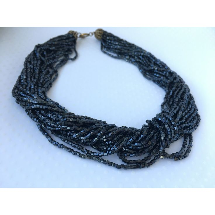 Midnight Black Twisted Bead Necklace