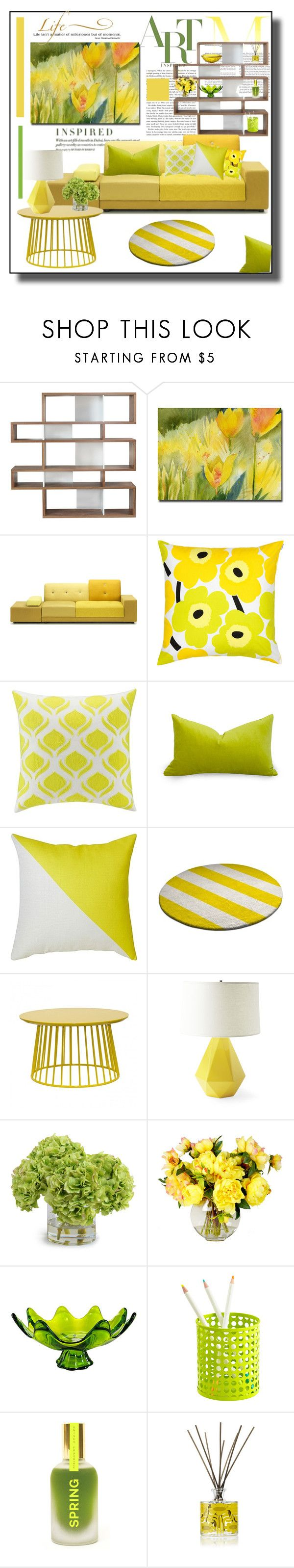 """""""Yellow"""" by barbara-gennari ❤ liked on Polyvore featuring interior, interiors, interior design, home, home decor, interior decorating, TemaHome, Polder, Marimekko and KAS Australia"""