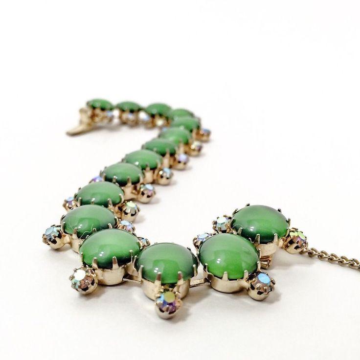 Vintage Bracelet Gold Tone Green Moon Glow Czech Glass & AB Rhinestones  #Schiaparelli #Czech