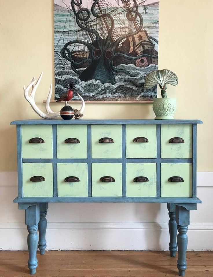 Not only is Lem Lem a beautiful color on its own, it pairs beautifully with other colors from the Chalk Paint® Palette! Annie Sloan Stockist When Modern Was of San Francisco, CA used Chalk Paint® in Greek Blue and Provence for this stylish sideboard then brushed the drawers with Lem Lem. . . . .