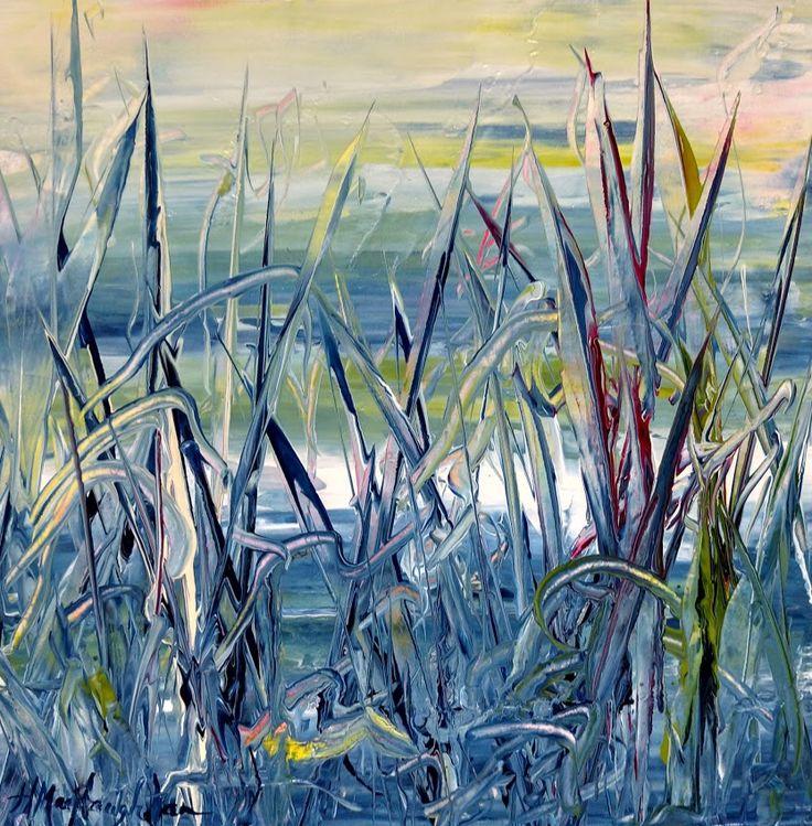 Light Through The Grass 12x12 inches ~ Acrylic on canvas painting by Hanna MacNaughtan