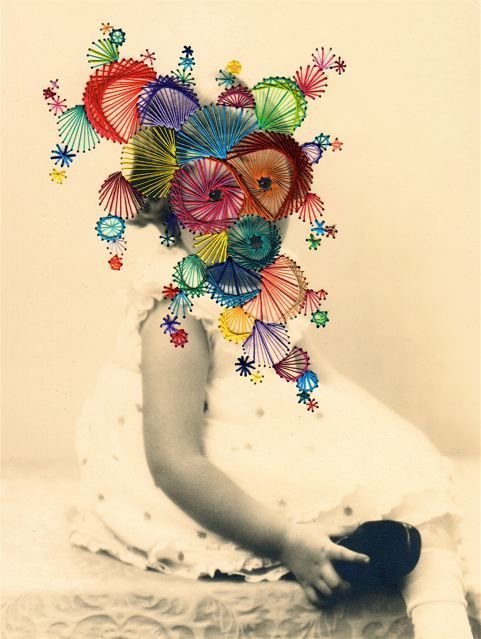 embroidered photo works by Maurizio Anzeri