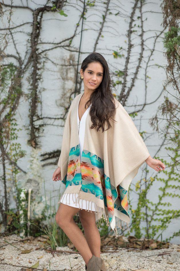 Capes & Ponchos – Cream tribal shawl, tribal poncho – a unique product by Fura_Tena on DaWanda