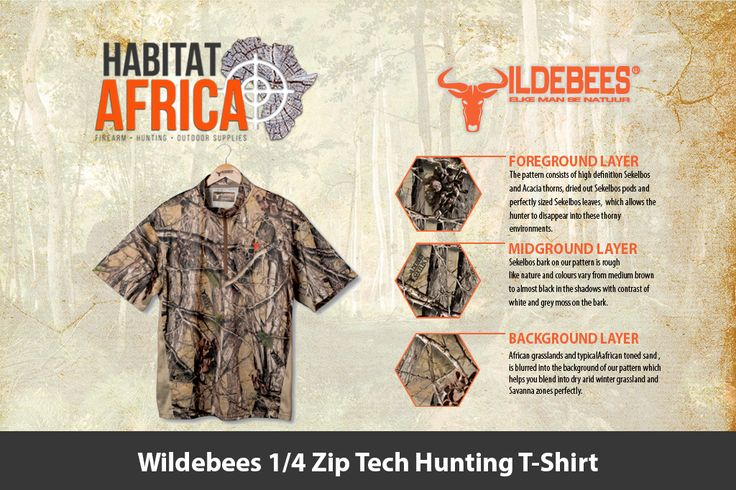The Wildebees 1/4 Zip Tech Hunting T-Shirt is made from 100% Polyester…