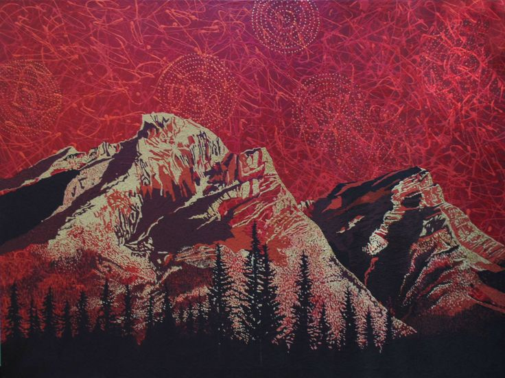 """Rocky Mountain Red"" by Artist Rhonda Lund 48 x 36"" Acrylic on Canvas; Staple back 'pushing color in the portrayal of the Rocky  Mountains"
