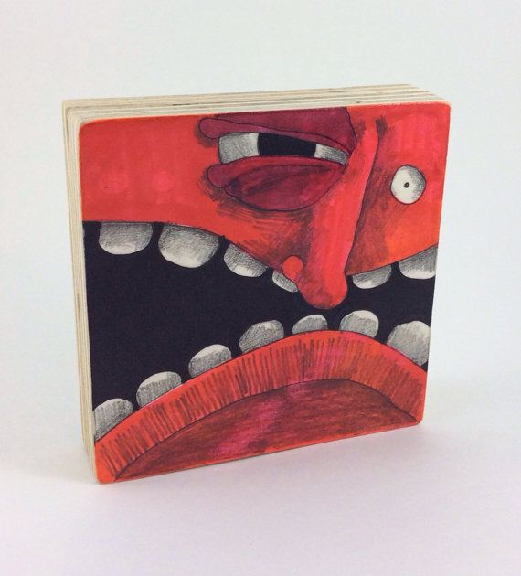 Red Monster Block by Aaron Butcher on Etsy, $30.00