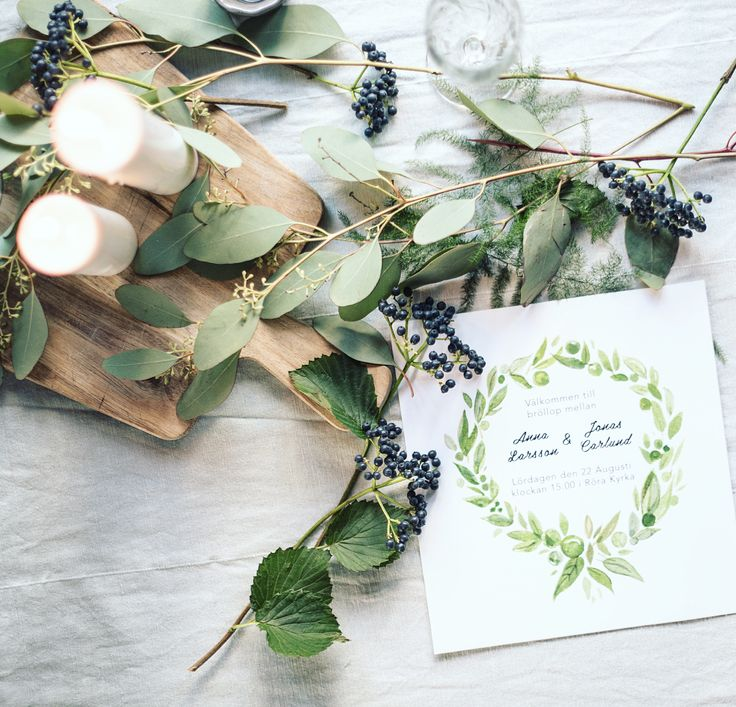 Green wedding invitation in collaboration with Art and flora. Visit www.artandflora.se for more information!
